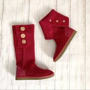 Ugg Classic Cardy Knit Pink Button Pull On Boots 6